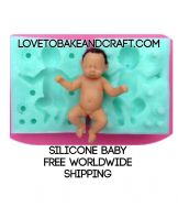 Baby mold, silicone baby mold, sugarpaste baby mold. Free shipping